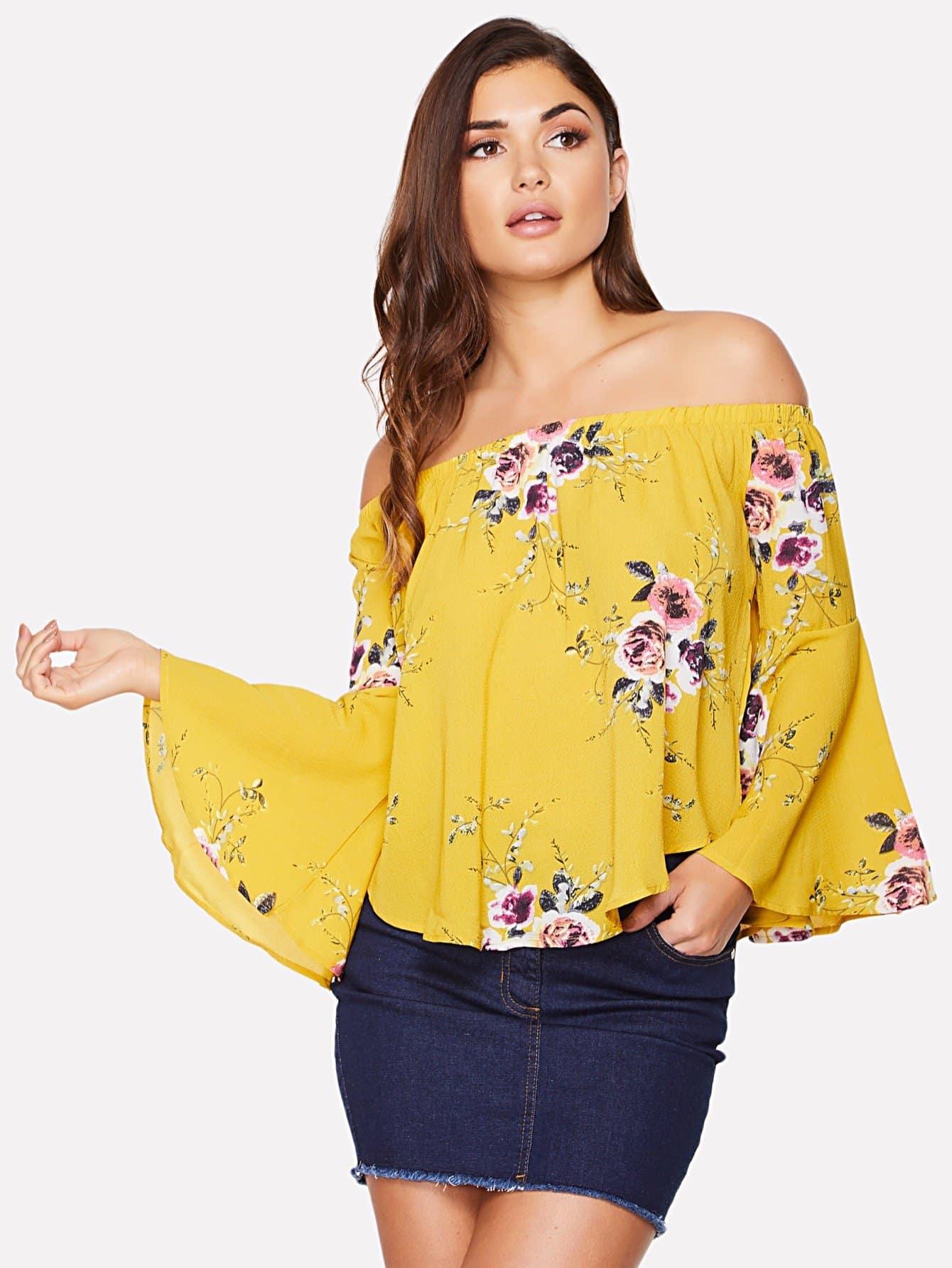 Bell Sleeve Curved Hem Floral Bardot Top batwing sleeve pocket side curved hem textured dress