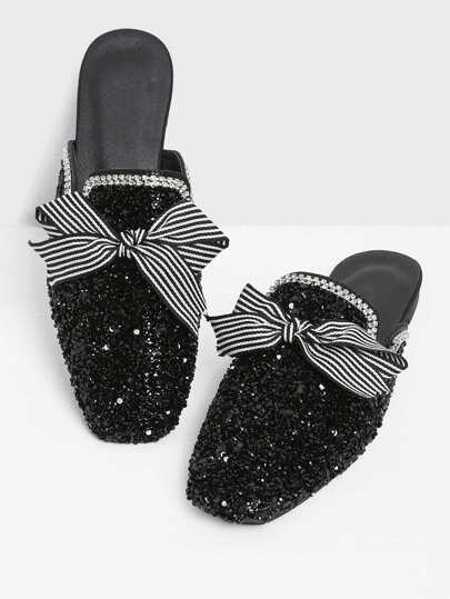 Sequin Decorated Bow Detail Mule Flats