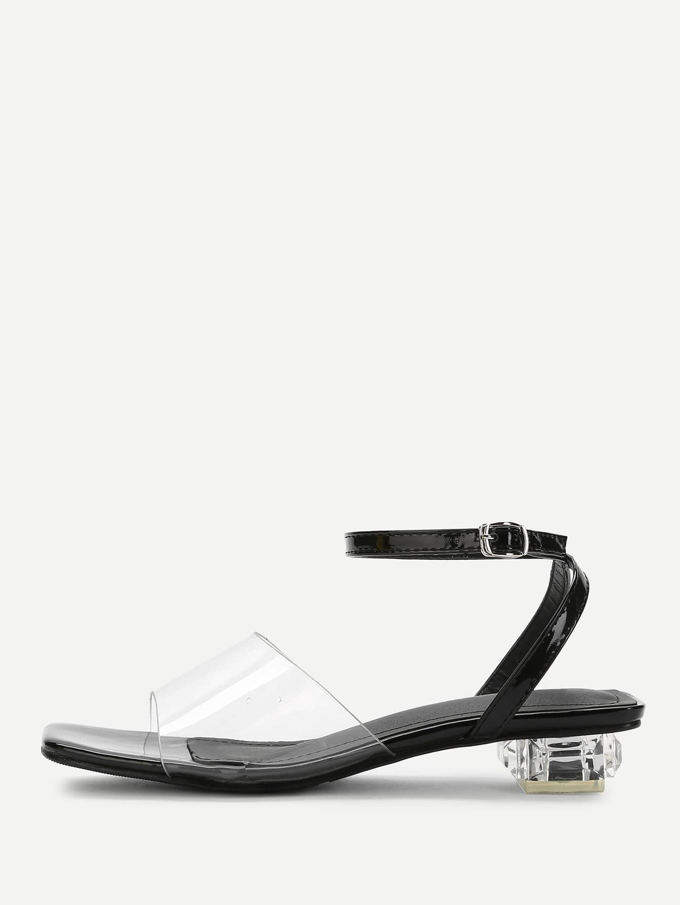 Clear Detail Ankle Strap Heeled Sandals ankle strap block heeled pu sandals