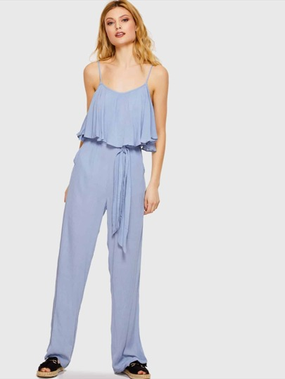 Blue Ruffle Trim Jumpsuit