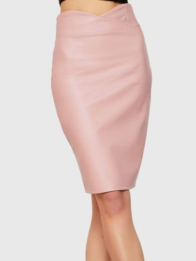 Pink PU Scallop High Waist Skirt