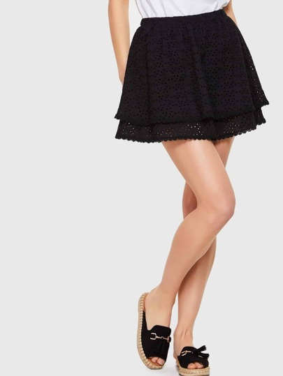 Black Elastic Waist Lace Mini Skirt