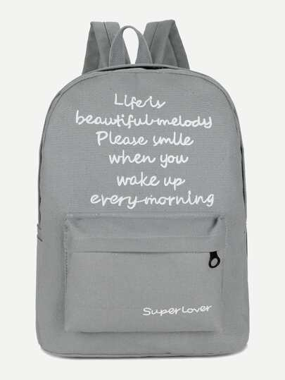 Slogan Print Backpack