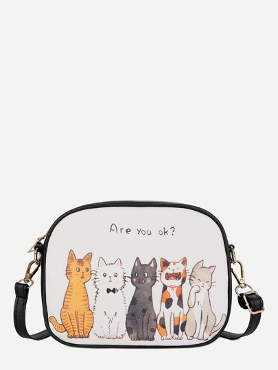 Cat Design Crossbody Bag