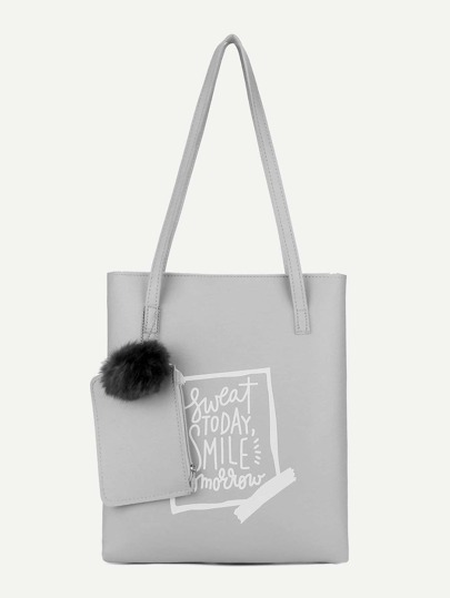 Pom Pom Decor Tote Bag With Cluch