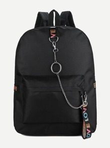 Chain Decor Pocket Front Backpack
