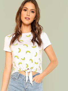 Banana Print Tie Front Top WHITE
