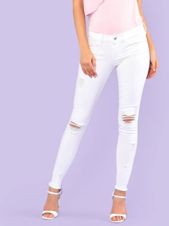 Low Rise Distressed Skinny Leg Jeans WHITE
