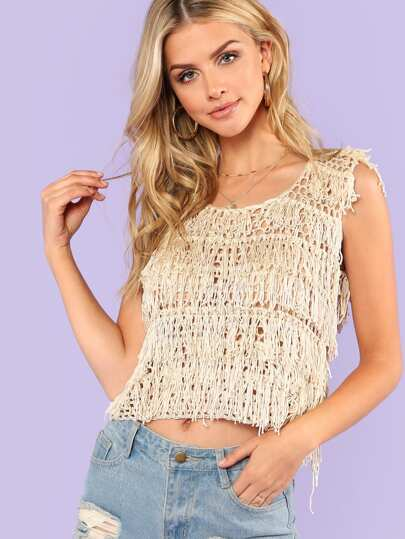 Crochet Tank Top with Tassel Trim Detail BEIGE