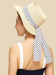 Polka Dot Band Straw Fedora Hat