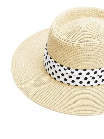 Polka Dot Band Straw Fedora Hat
