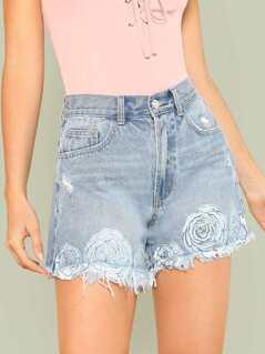 Flower Print High Waist Distressed Shorts BLUE