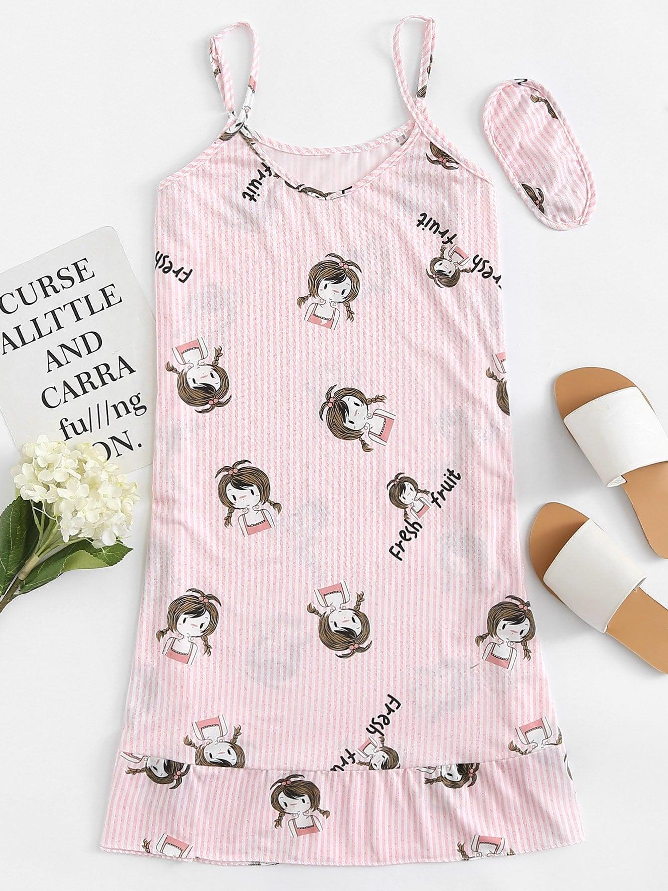 Girl Print Ruffle Hem Dress With Eye Mask ruffle hem solid pajama set with eye mask