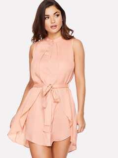 Self Belted Asymmetrical Hem Shell Dress