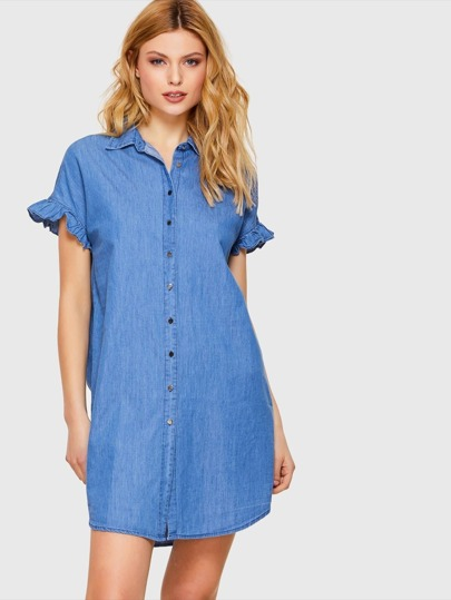Denim Ruffle Sleeve Button Dress