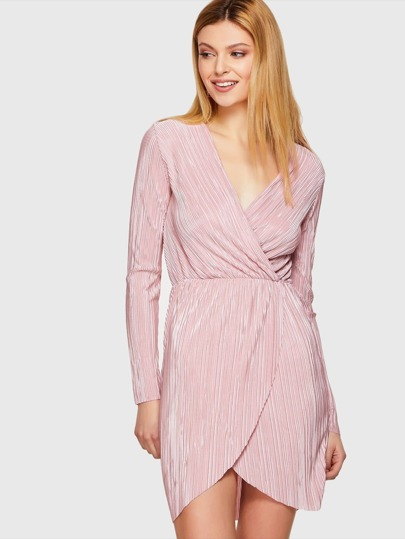 Pink V Wrap Long Sleeve Dress