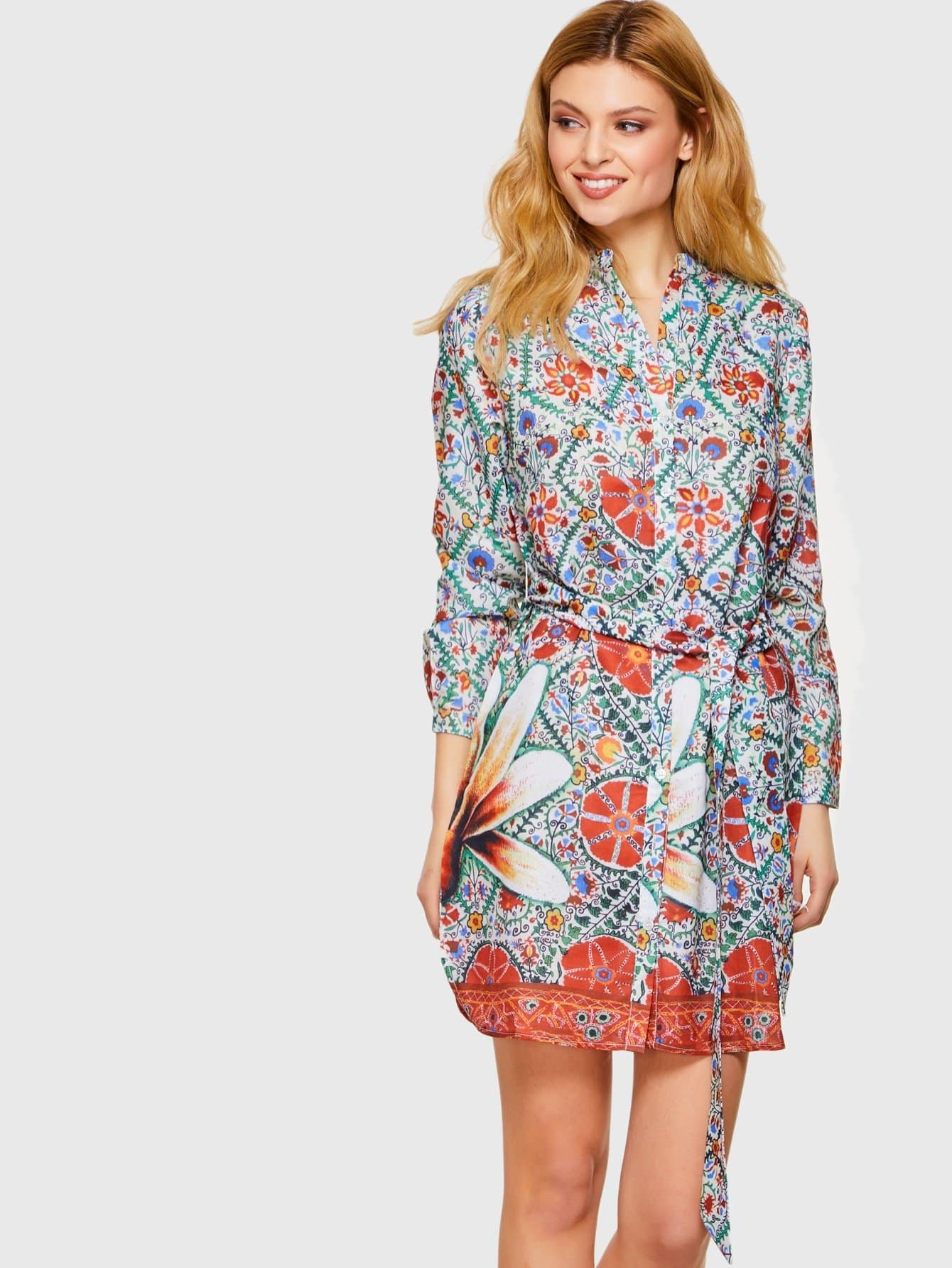 Flower Print Tie Waist Shirt Dress flower print tie waist shirt dress