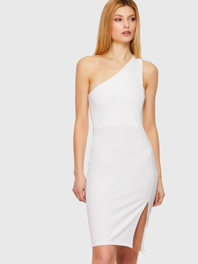 White One Shoulder Slit Dress