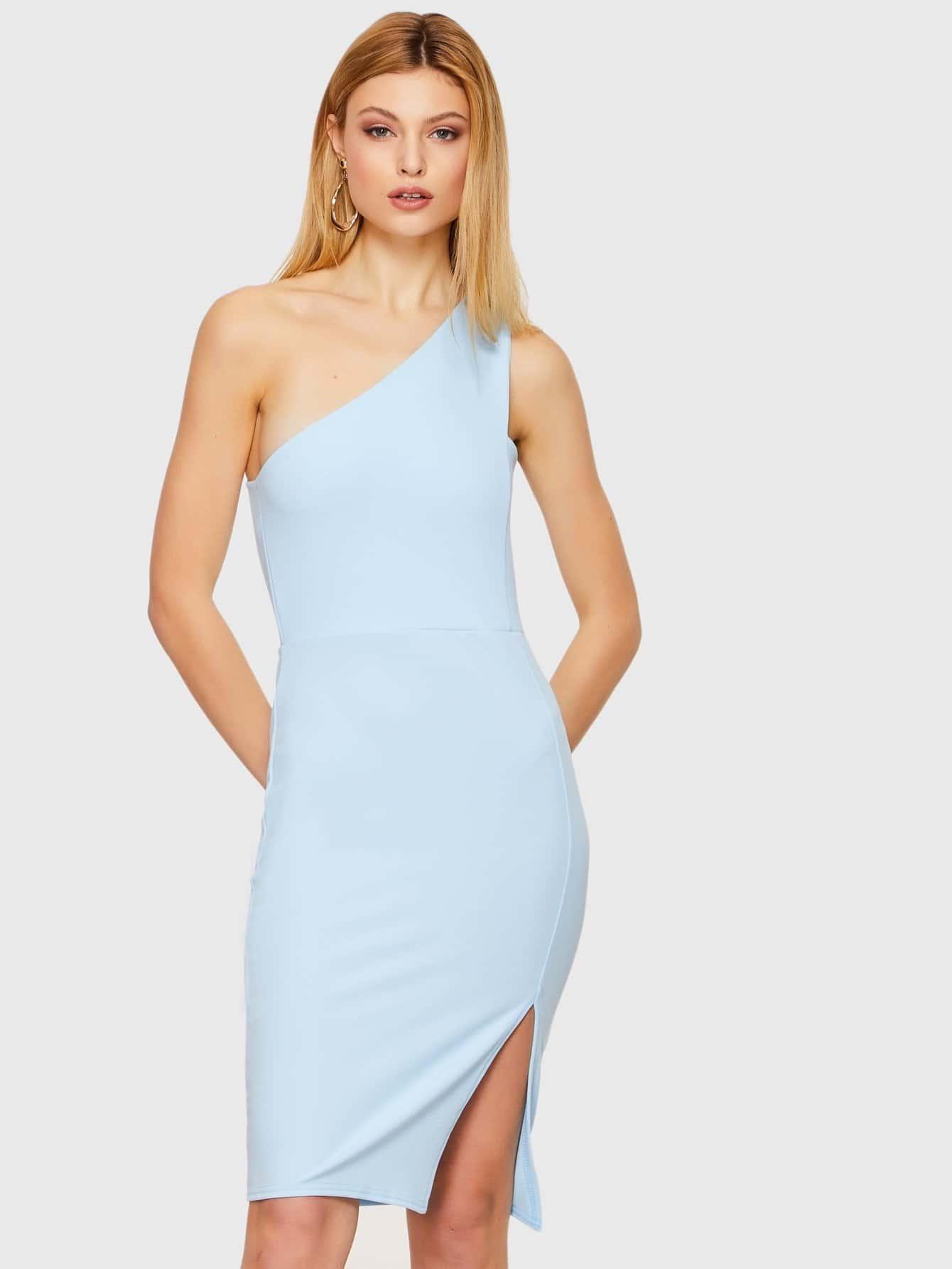 One Shoulder Slit Dress one shoulder slit back fitted dress