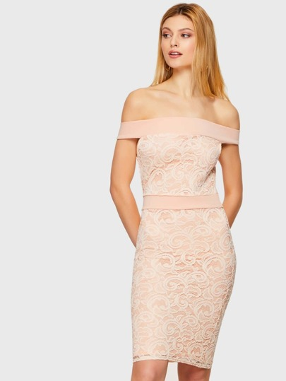 Pink Off Shoulder Bodycon Dress