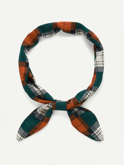 Plaid Print Twilly Scarf