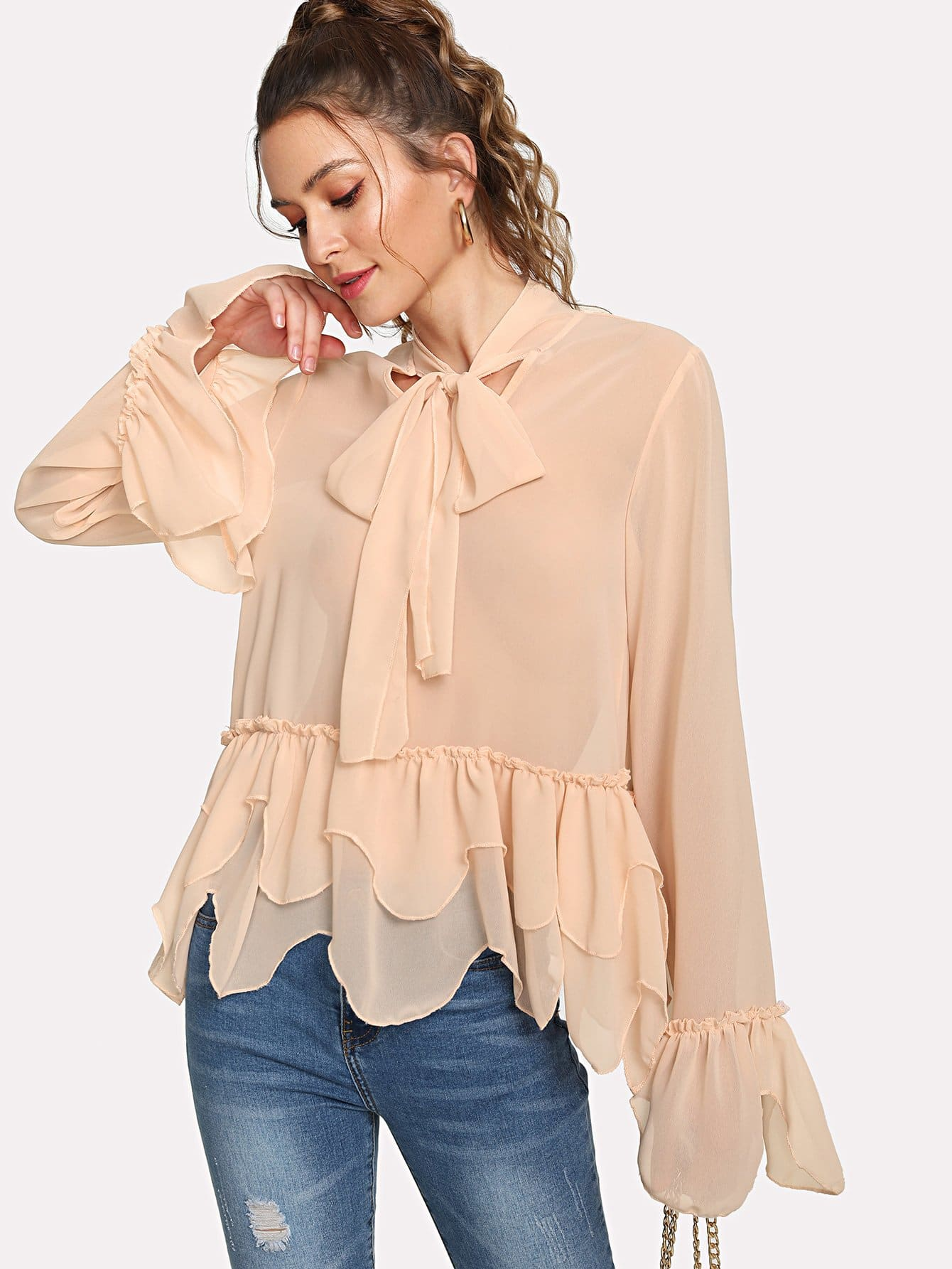 Fluted Sleeve Tie Neck Blouse