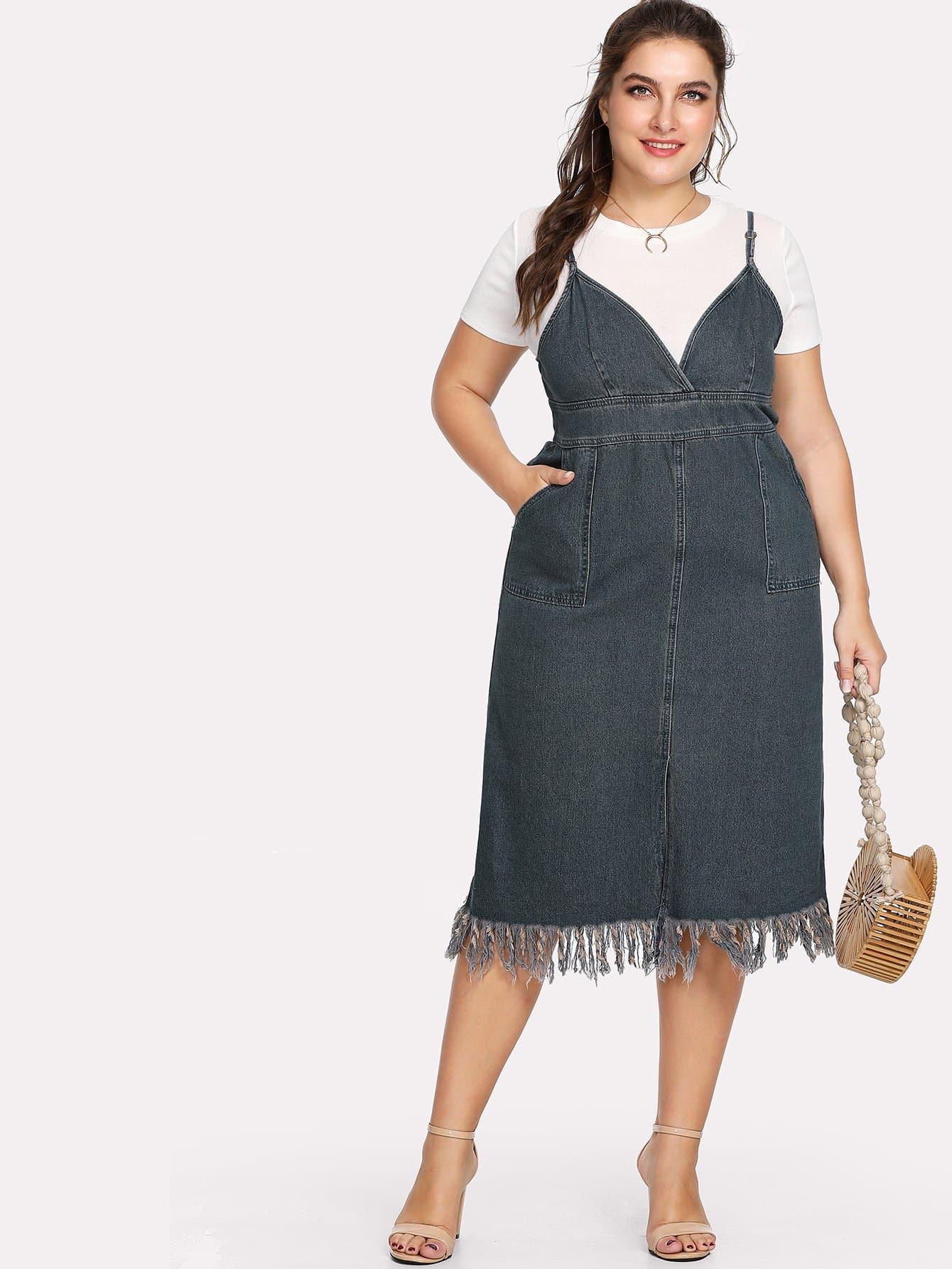 Plus Denim Dual Pocket Fringe Hem Cami Dress