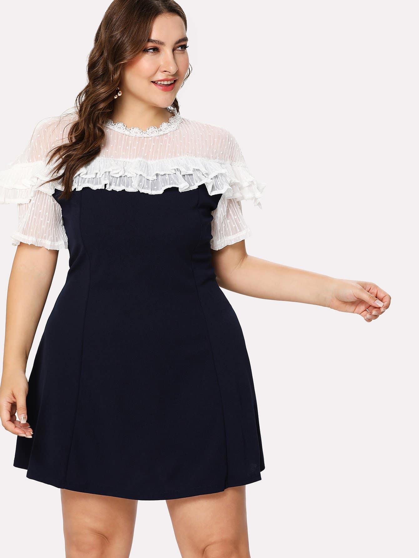 Sheer Mesh Panel Ruffle Trim Dress