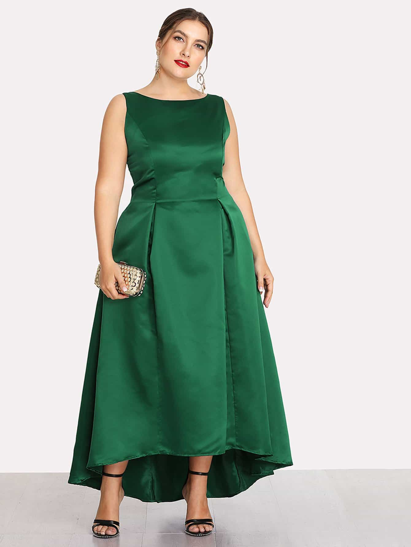 Zip Up Back Dip Hem Dress