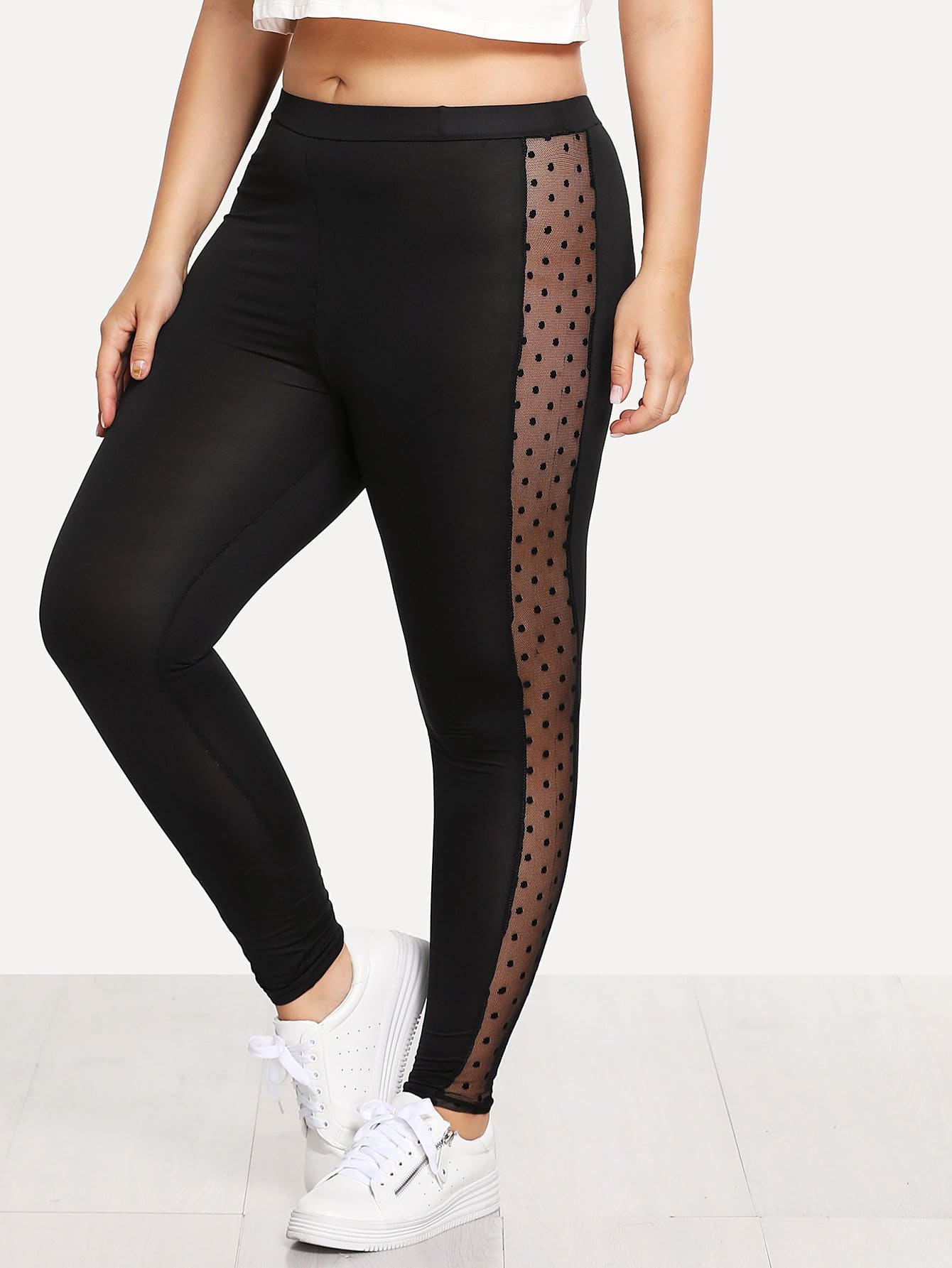 Sheer Mesh Spot Panel Leggings sheer plus size mesh panel workout leggings