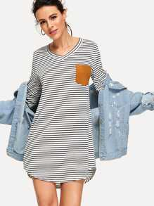 Contrast Suede Pocket Curved Hem Striped Tee Dress