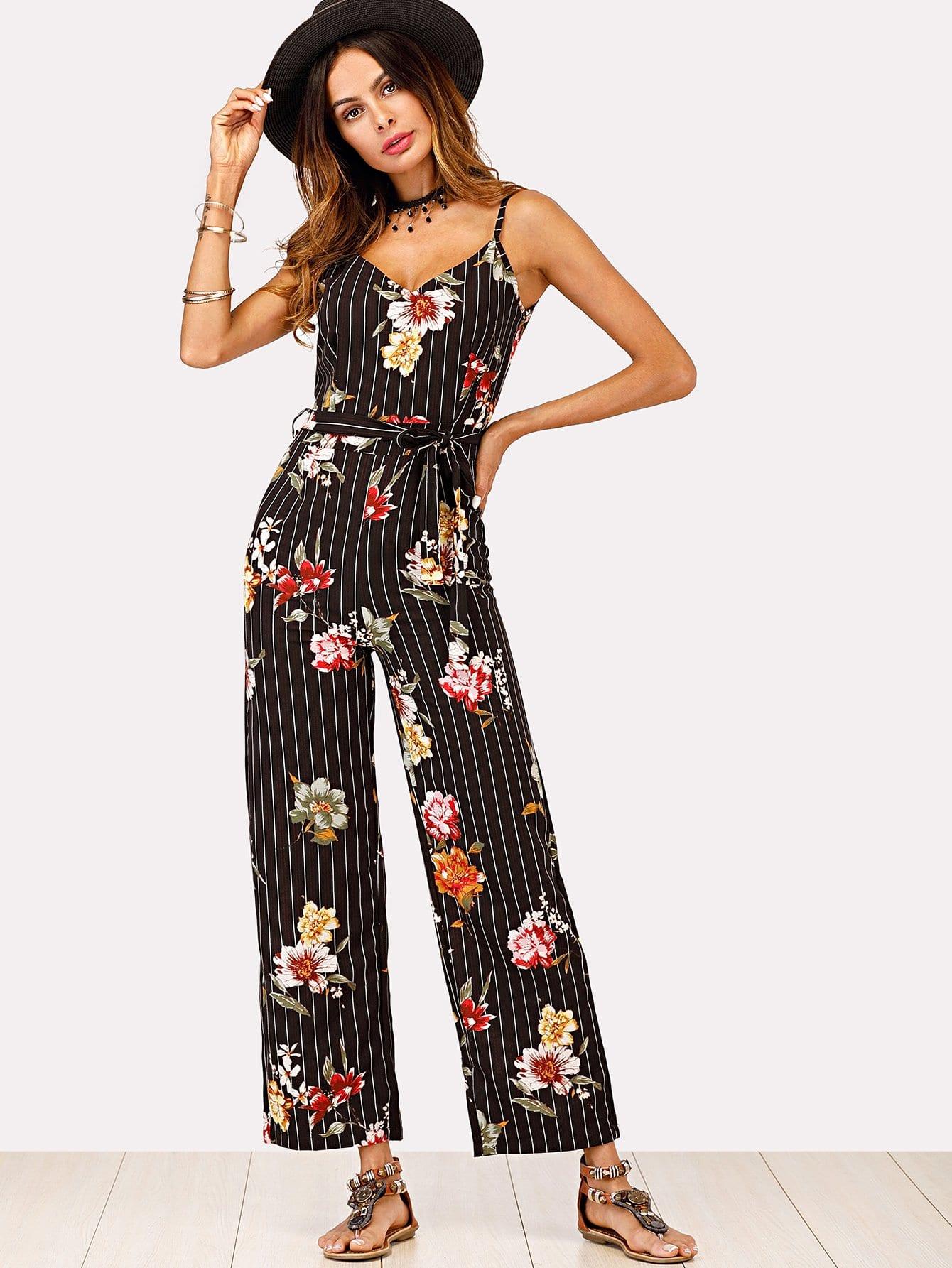 Floral Print Striped Self Tie Waist Jumpsuit striped ruffled waist self tie pants