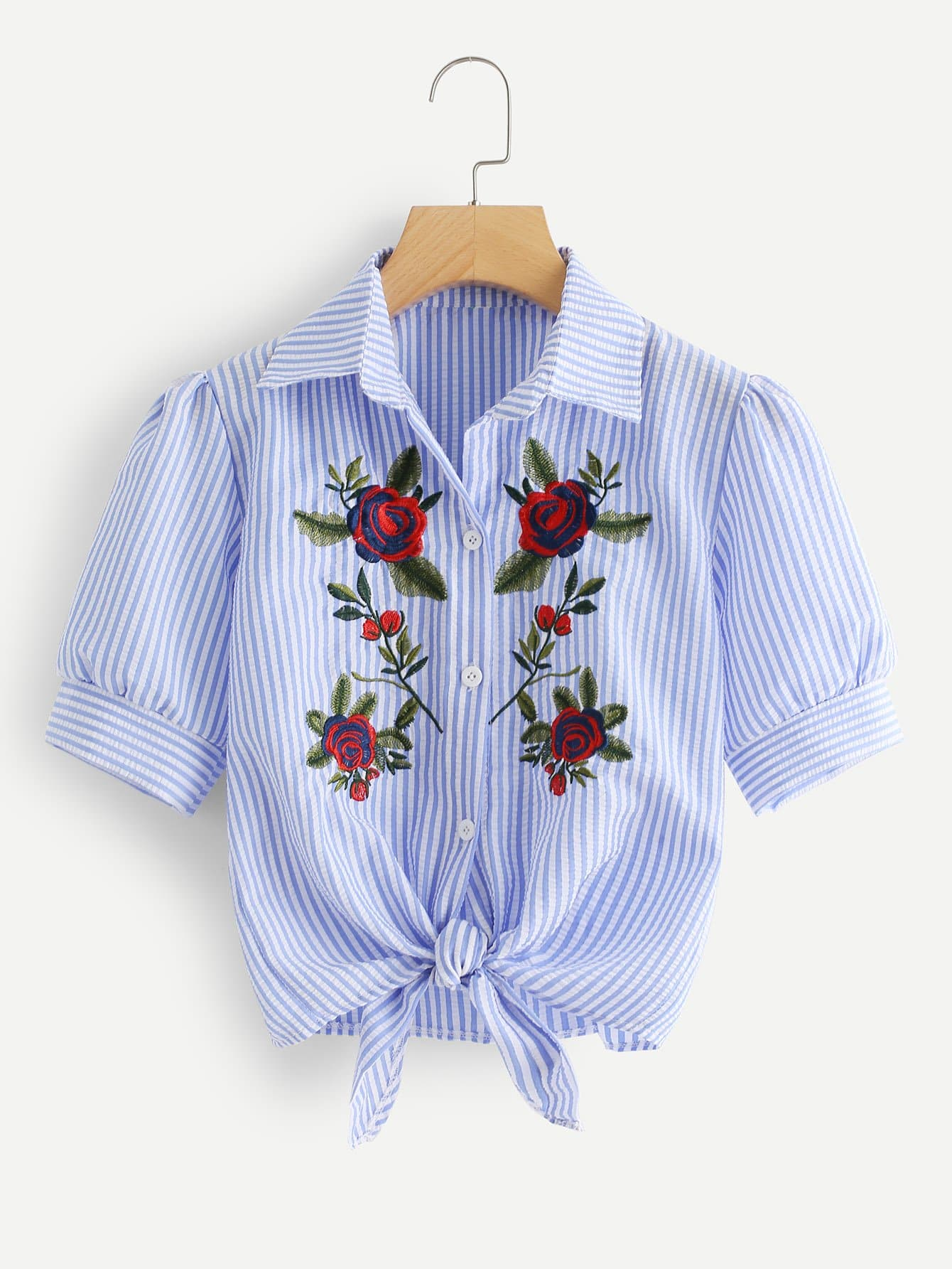 Floral Embroidered Knot Stripe Shirt