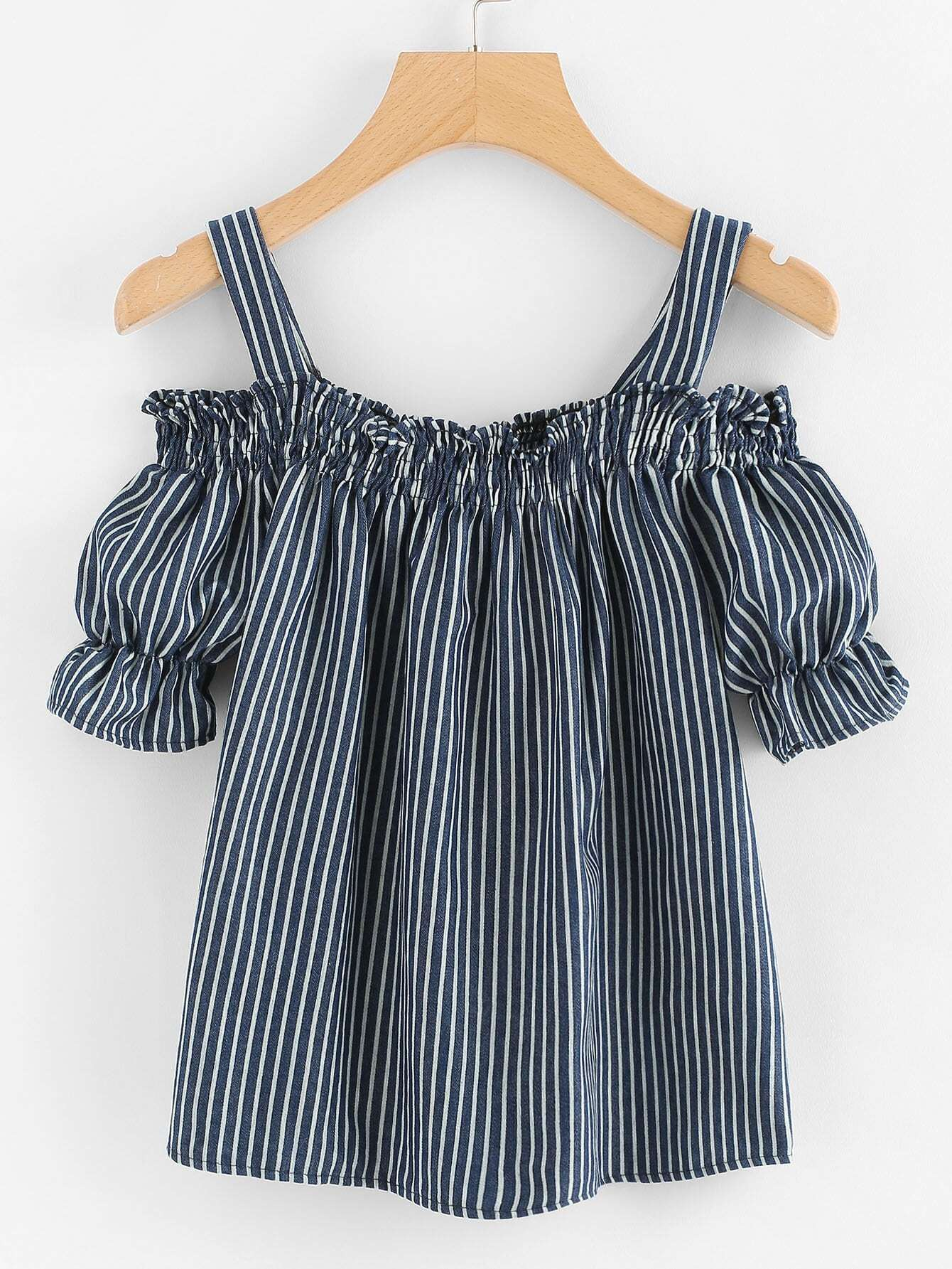 Open Shoulder Elastic Stripe Blouse