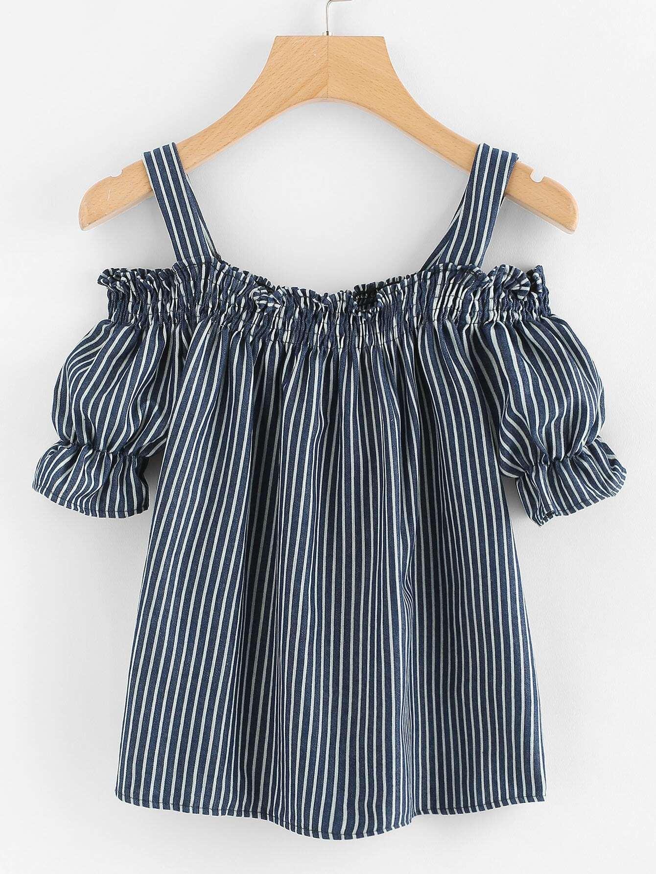 Open Shoulder Elastic Stripe Blouse