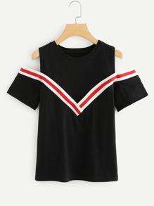 Stripe Contrast Open Shoulder Blouse