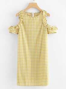 Open Shoulder Ruffle Plaid Dress