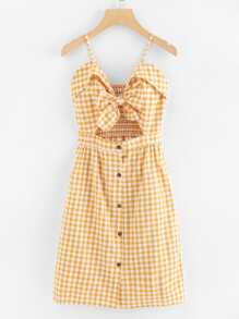 Cut Out Bow Front Foldover Plaid Cami Dress