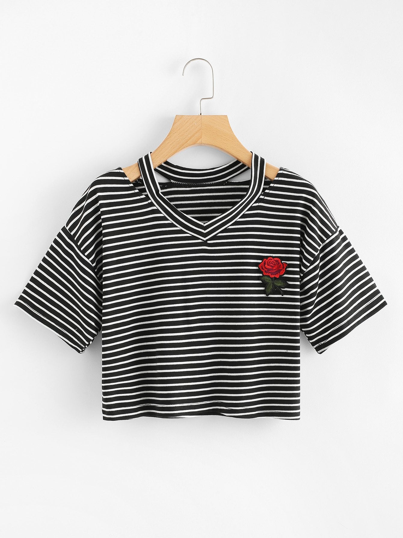 Crop T-Shirt mit Blumenapplikation und Streifen