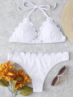 Bow Front Scallop Trim Halter Bikini Set