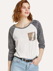 Single Pocket Space Dye Raglan Sleeve T-shirt