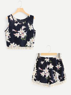 Tassel Trim Floral Tank Top & Shorts Co-Ord