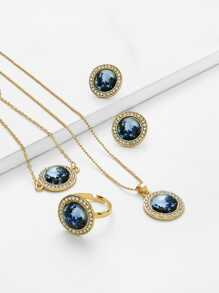 Contrast Round Design Necklace & Ring & Bracelet Set