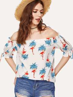 Split Sleeve Flamingo Print Bardot Top