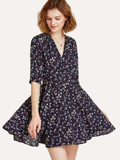 Fit & Flare Surplice Wrap Floral Dress