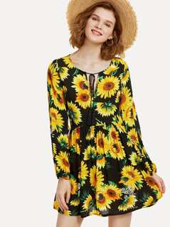 Sunflower Print Tassel Tie Neck Dress