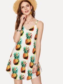 Pineapple Print Crisscross Neck Cami Dress
