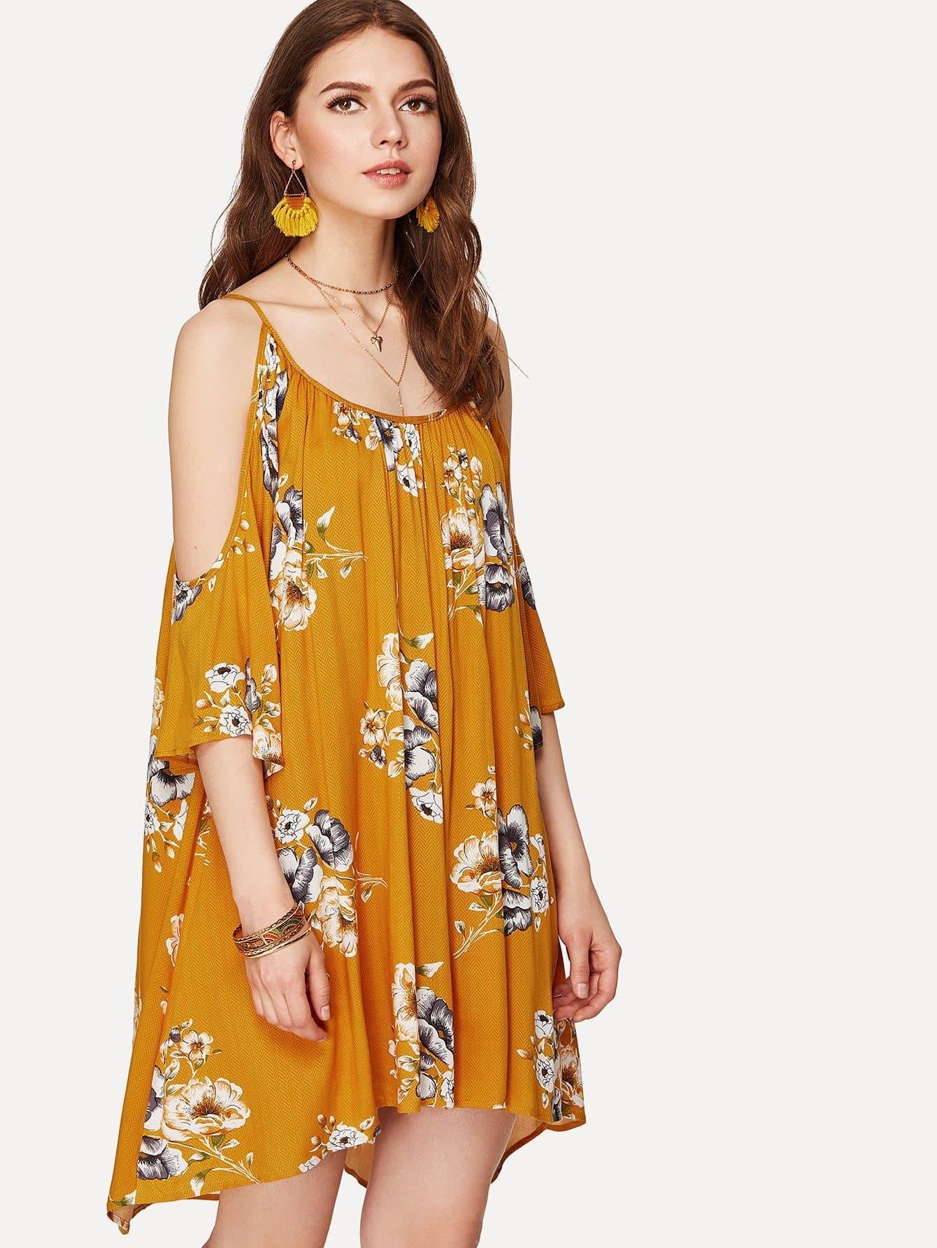 Cold Shoulder Floral Dress cold shoulder floral wrap dress