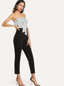Color Block Knot Front Tube Jumpsuit