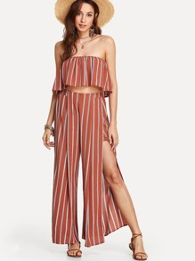 Striped Tube Top With Split Pants